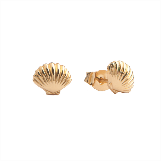 Goldfarbene ALLTHELUCKINTHEWORLD Ohrringe PARADE EARRINGS SEA SHELL - large