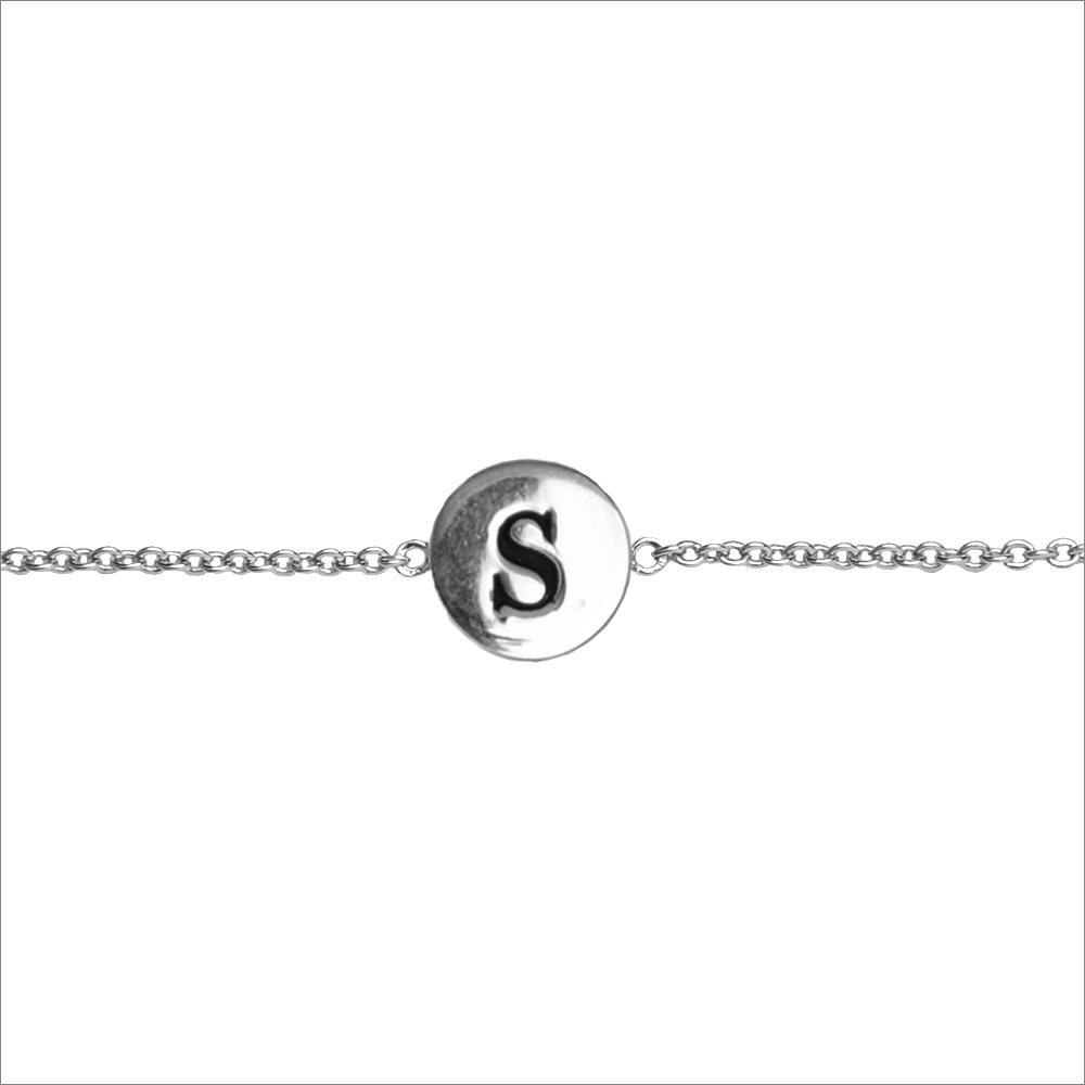 Silberne ALLTHELUCKINTHEWORLD Armband CHARACTER BRACELET LETTER SILV 6AvJo