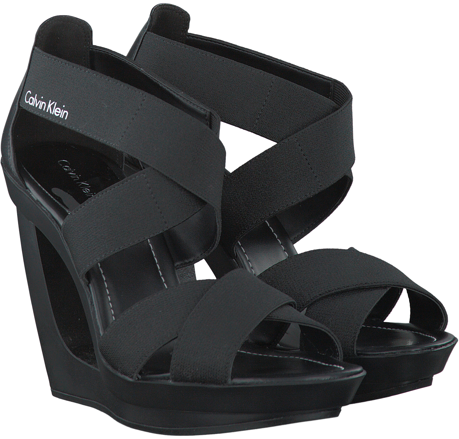 schwarze calvin klein sandalen yvette schuhmode online. Black Bedroom Furniture Sets. Home Design Ideas