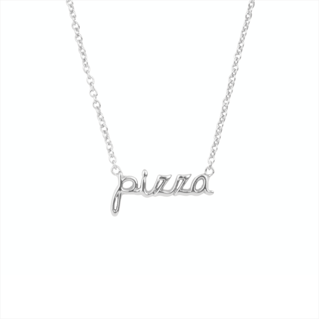 Silberne ALLTHELUCKINTHEWORLD Kette URBAN NECKLACE PIZZA - large