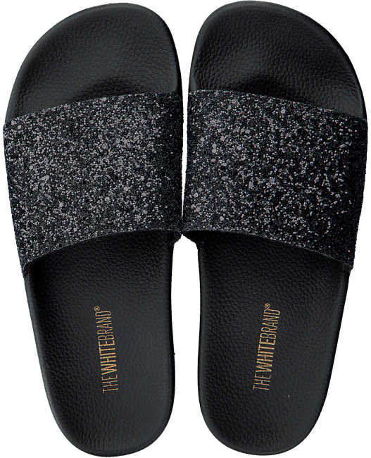 Schwarze THE WHITE BRAND Pantolette GLITTER BEACH - large