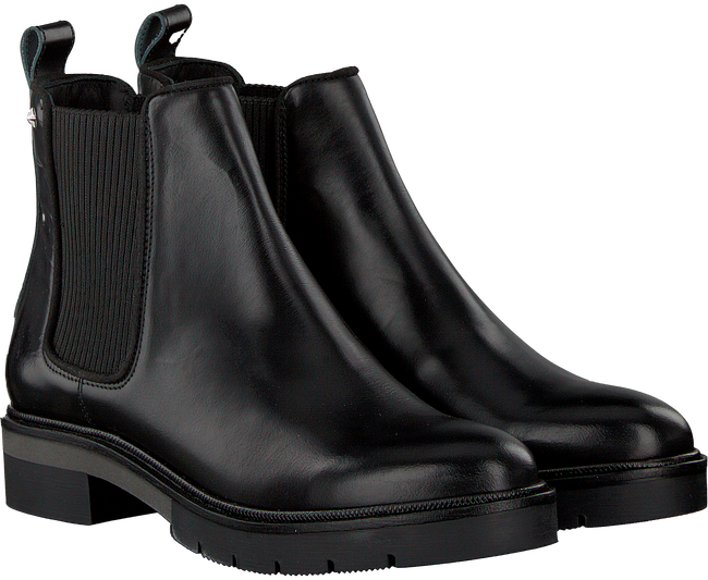 Schwarze TOMMY HILFIGER Chelsea Boots METALLIC LEATHER CHELSEA BOOT - large