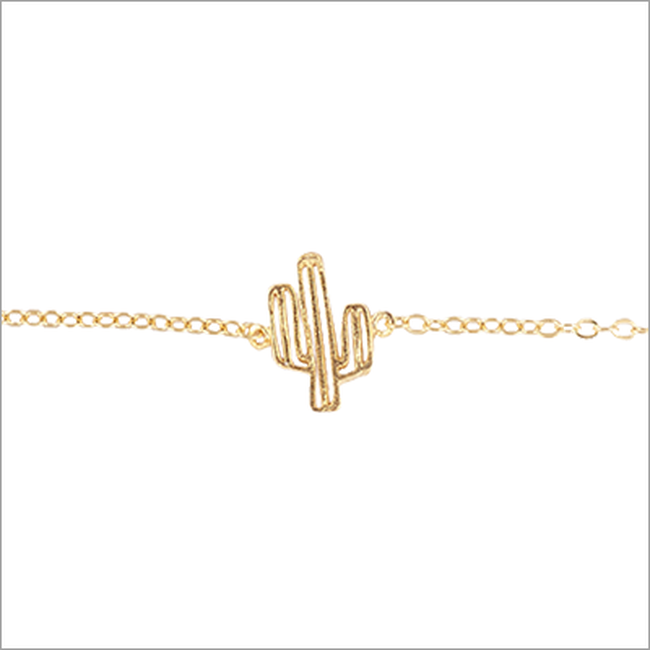 Goldfarbene ALLTHELUCKINTHEWORLD Armband ELEMENTS BRACELET CACTUS - large