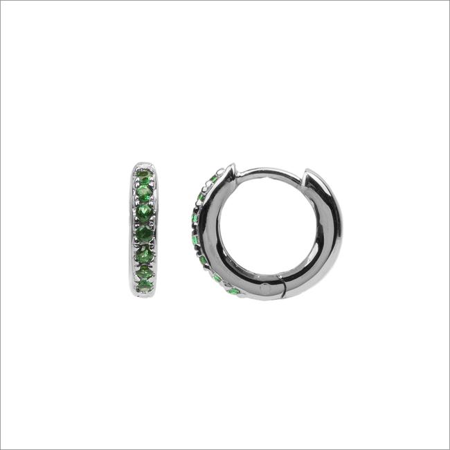 Silberne ATLITW STUDIO Ohrringe BLISS EARRINGS CREOLE GREEN EM  - large