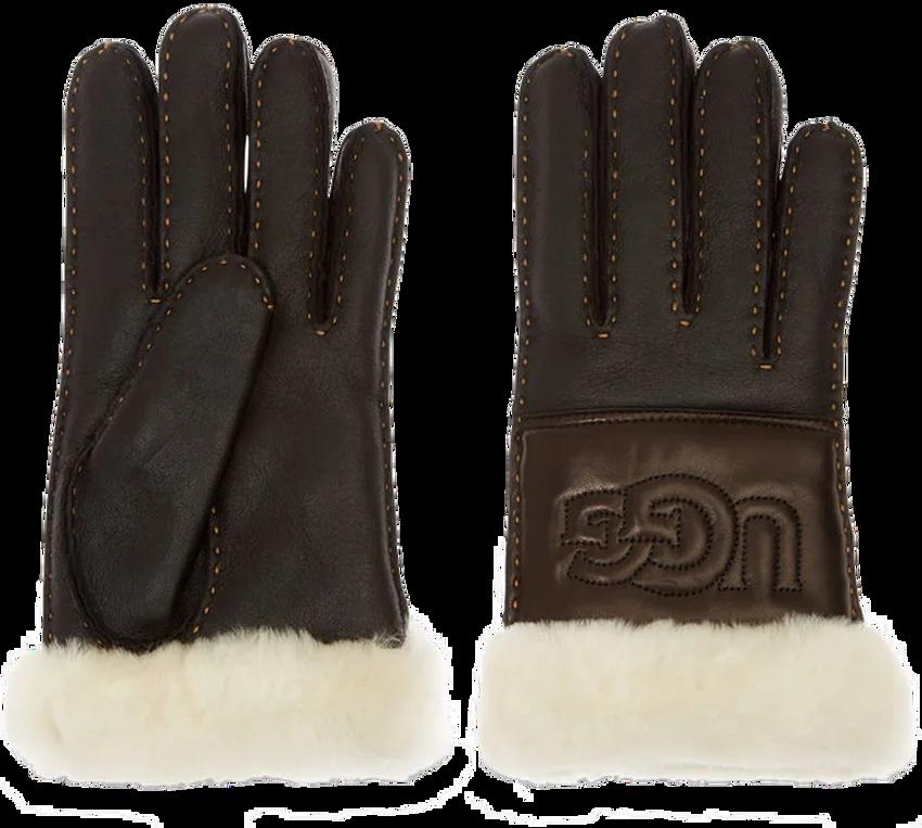 Schwarze UGG Handschuhe SHEEPSKIN LOGO GLOVE - larger