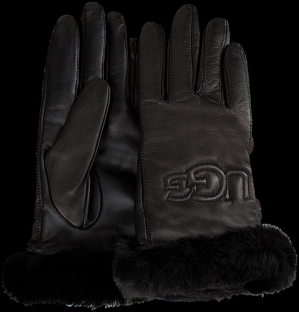 Schwarze UGG Handschuhe CLASSIC LEATHER LOGO GLOVE N336d