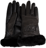 Schwarze UGG Handschuhe CLASSIC LEATHER LOGO GLOVE - small