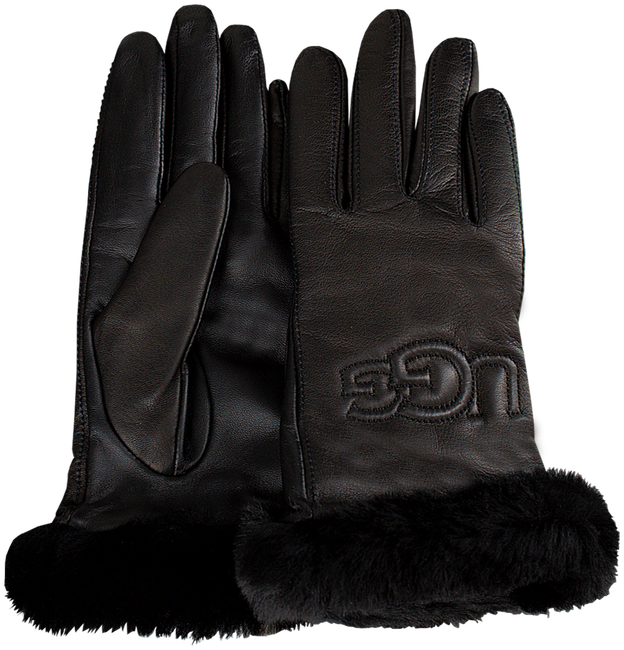 Schwarze UGG Handschuhe CLASSIC LEATHER LOGO GLOVE - large