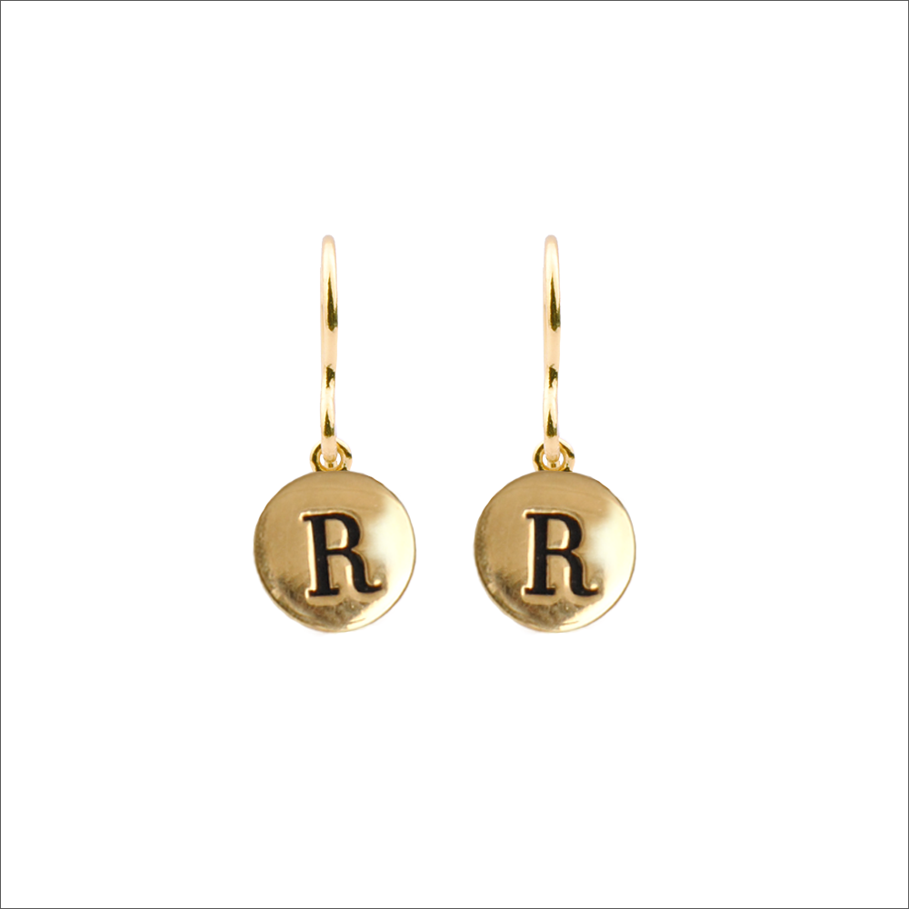 Goldfarbene ALLTHELUCKINTHEWORLD Ohrringe CHARACTER EARRINGS LETTER 6pfFk