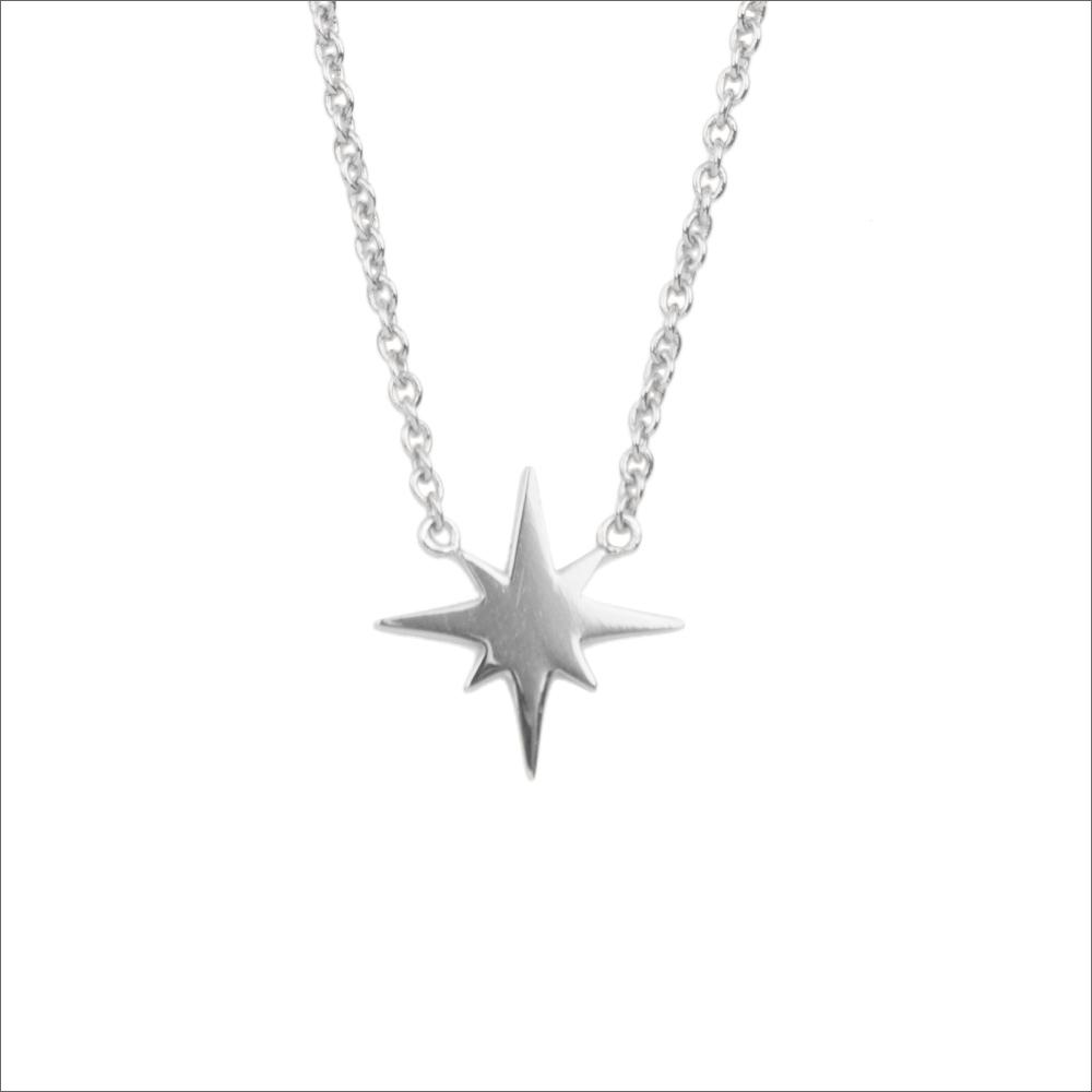 Silberne ALLTHELUCKINTHEWORLD Kette SOUVENIR NECKALCE STAR BURST 2YwNF