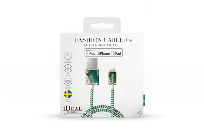 Goldfarbene IDEAL OF SWEDEN Handy-Schutzhülle FASHION CABLE 1M - large