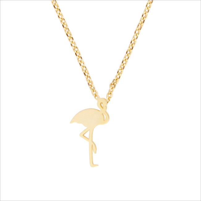 Goldfarbene ALLTHELUCKINTHEWORLD Kette ELEMENTS NECKLACE FLAMINGO - large