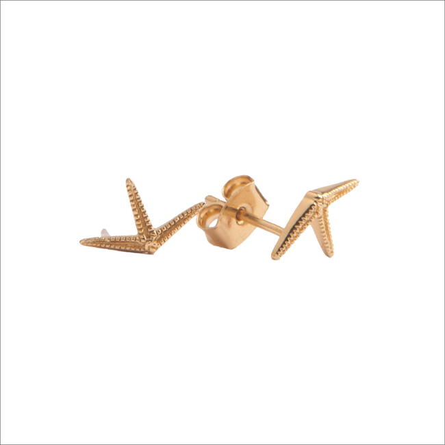 Goldfarbene ALLTHELUCKINTHEWORLD Ohrringe PARADE EARRINGS STARFISH HALF - large