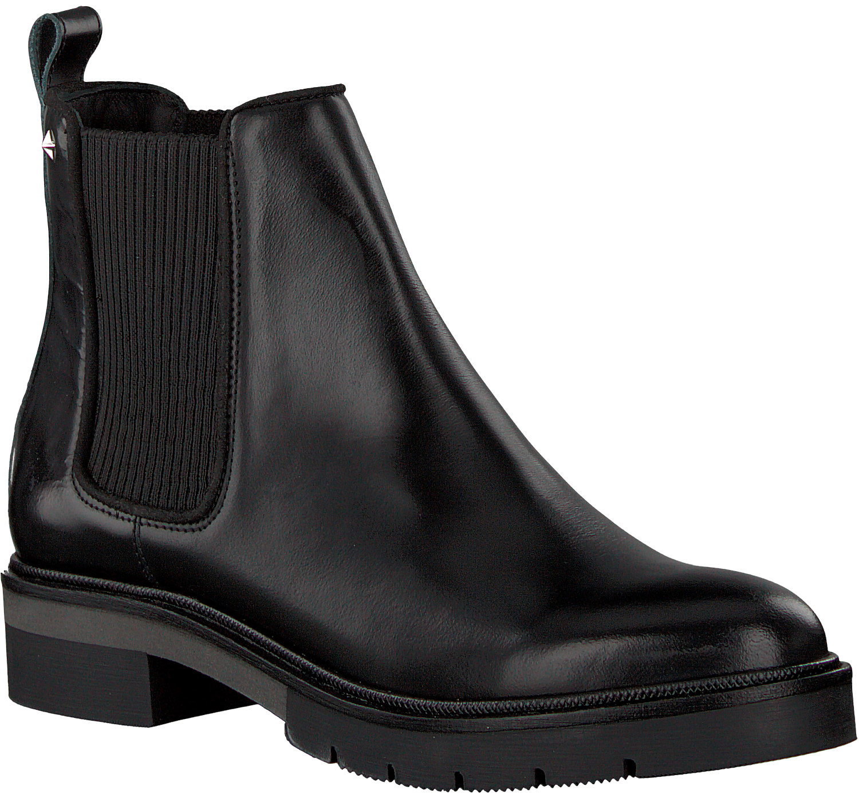 schwarze tommy hilfiger chelsea boots metallic leather. Black Bedroom Furniture Sets. Home Design Ideas