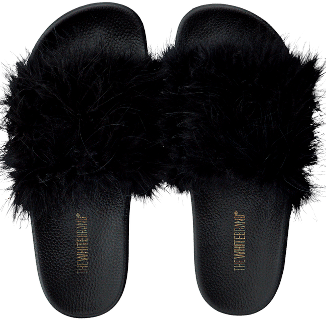 Schwarze THE WHITE BRAND Pantolette FEATHERS - large