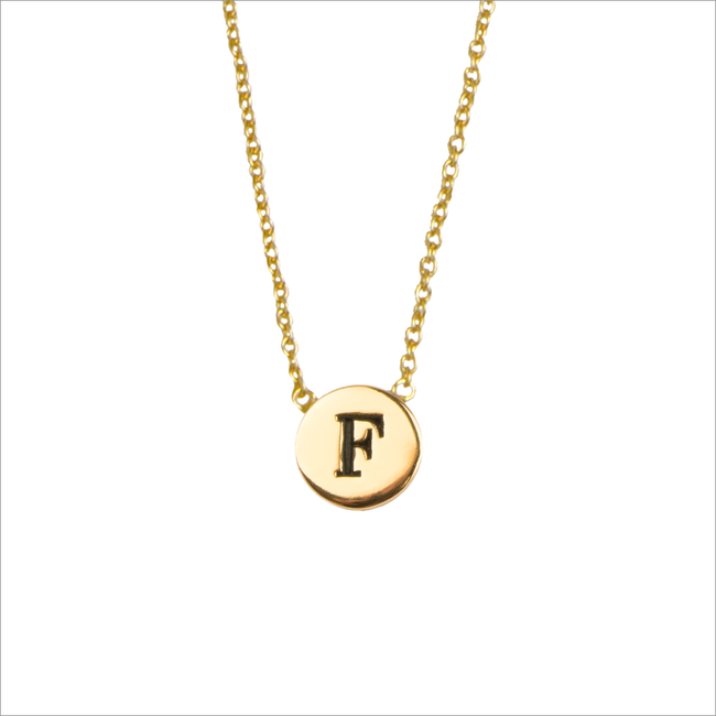 Goldfarbene ALLTHELUCKINTHEWORLD Kette CHARACTER NECKLACE LETTER F - large