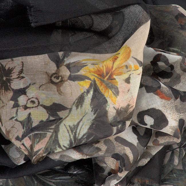 Schwarze LIU JO Schal FLOWER FOULARD  - large