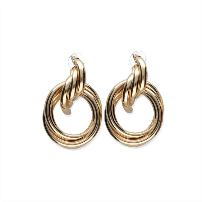 Goldfarbene NOTRE-V Ohrringe OORBEL DUBBELE RING  - large