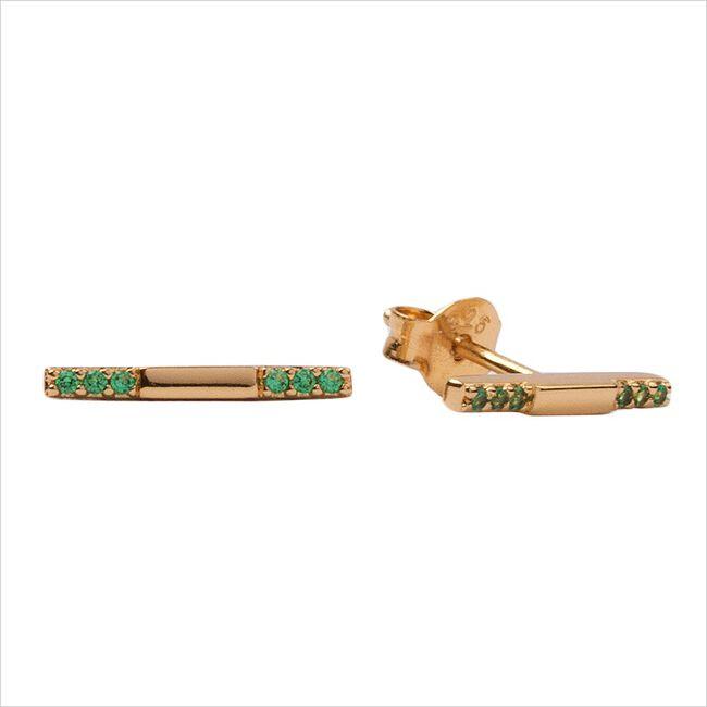 Goldfarbene ATLITW STUDIO Ohrringe BLISS EARRINGS BAR GREEN EMERA  - large