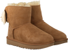 Camelfarbene UGG Ankle Boots FLUFF BOW MINI - small