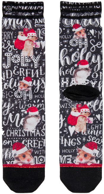 Rote XPOOOS Socken XMAS HAMSTER WISHES - large