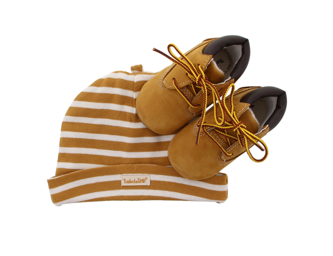 Camelfarbene TIMBERLAND Babyschuhe CRIB BOOTIE W/HAT - large