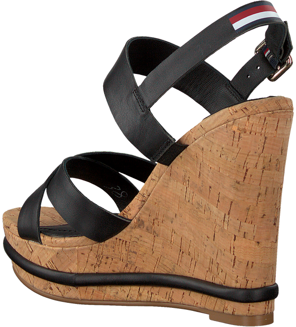 Schwarze TOMMY HILFIGER Sandalen CORPORATE WEDGE  - large