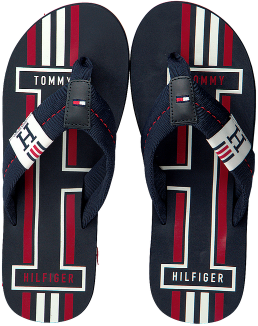 Blaue TOMMY HILFIGER Pantolette BADGE TEXTILE BEACH  - large