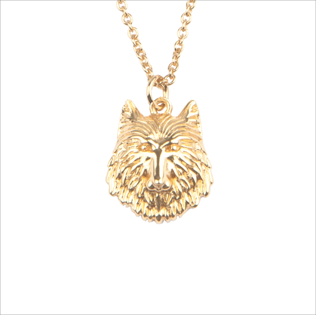 Goldfarbene ALLTHELUCKINTHEWORLD Kette SOUVENIR NECKLACE WOLF - large