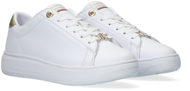 Weiße TOMMY HILFIGER Sneaker low METALLIC LEATHER CUPSOLE  - large