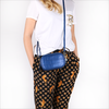 Blaue BY LOULOU Portemonnaie SHINY CROCO - small