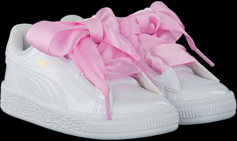 Weiße PUMA Sneaker BASKET HEART PATENT KIDS
