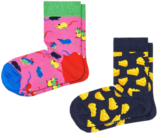 Mehrfarbige/Bunte HAPPY SOCKS Socken 2-PACK KIDS MOUSE  - large