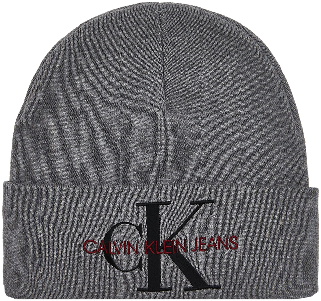 Graue CALVIN KLEIN Mütze J BASIC WOMEN KNITTED BEANIE  - large