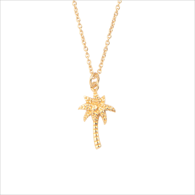 Goldfarbene ALLTHELUCKINTHEWORLD Kette SOUVENIR NECKLACE PALM TREE - large