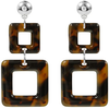 Braune MY JEWELLERY Ohrringe DOUBLE SQUARE EARRINGS - small