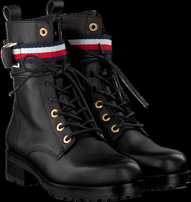 Schwarze TOMMY HILFIGER Biker Boots CORPORATE RIBBON  - large