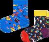 Mehrfarbige/Bunte HAPPY SOCKS Socken 2-PACK KIDS SPACE CAT  - small