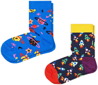 Mehrfarbige/Bunte HAPPY SOCKS Socken 2-PACK KIDS SPACE CAT  - medium