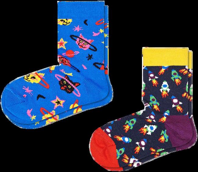 Mehrfarbige/Bunte HAPPY SOCKS Socken 2-PACK KIDS SPACE CAT  - large