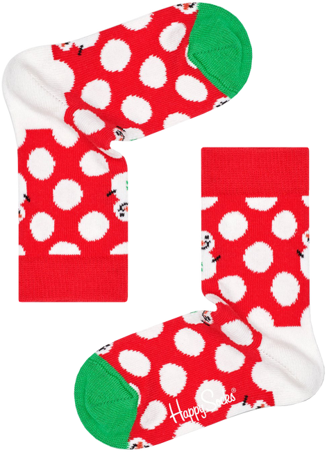 Mehrfarbige/Bunte HAPPY SOCKS Socken BIG DOT SNOWMAN  - large