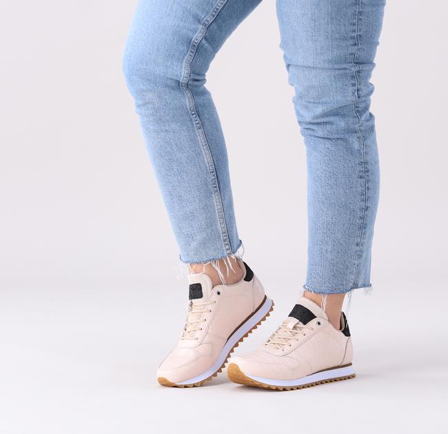 Weiße WODEN Sneaker low YDUN CROCO SHINY  - large