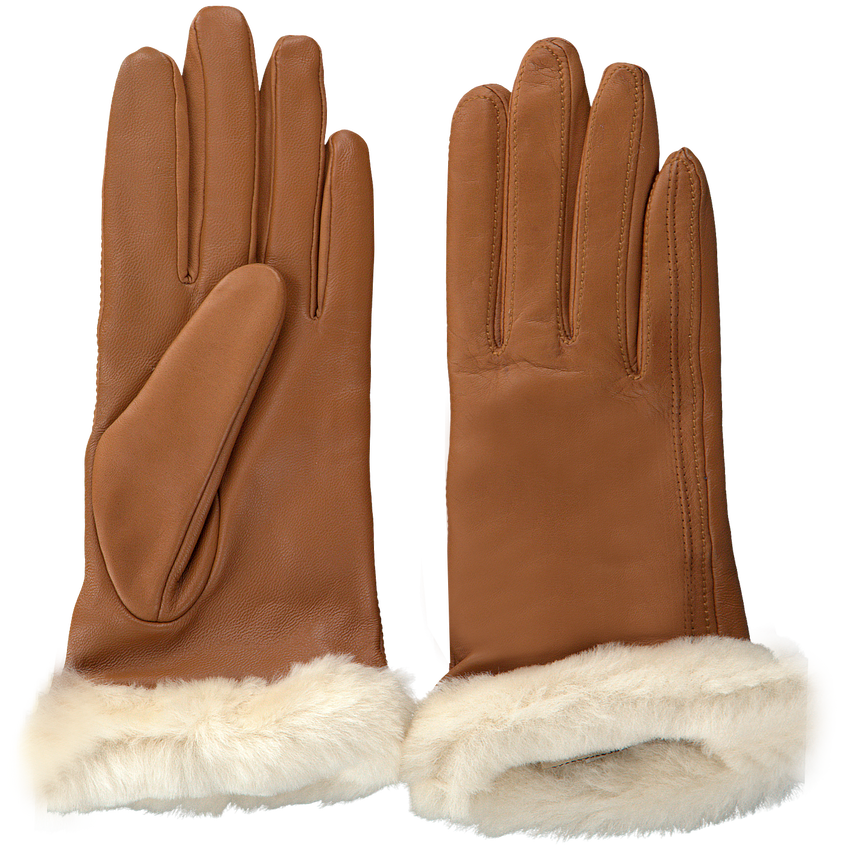 Cognacfarbene UGG Handschuhe CLASSIC LEATHER SMART GLOVE - larger