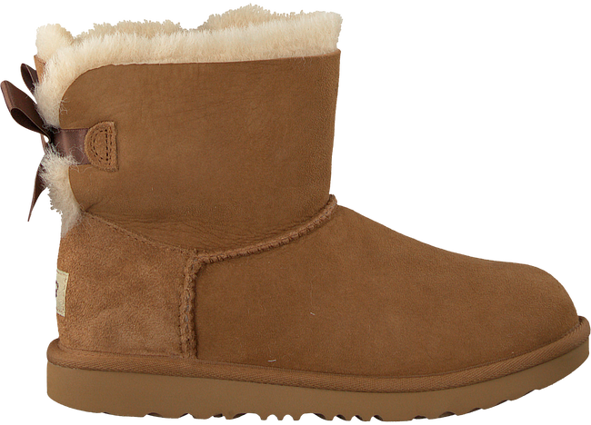 Cognacfarbene UGG Ankle Boots MINI BAILEY BOW II KIDS - large