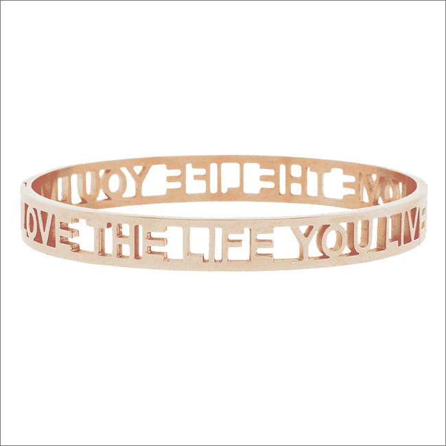 Goldfarbene MY JEWELLERY Armband LOVE THE LIFE YOU LIVE OPEN - large