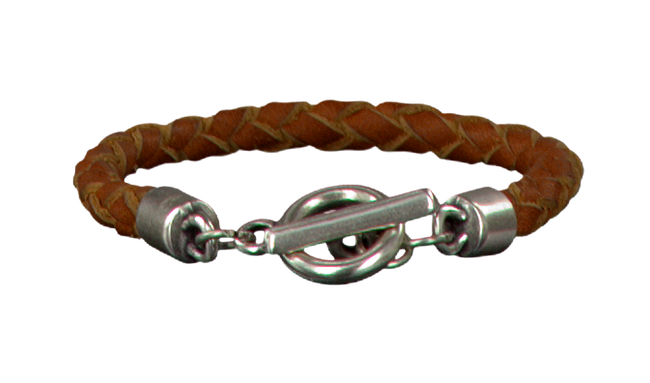 Cognacfarbene LEGEND Armband ARMBAND GEVLOCHTEN ENKEL - large
