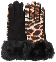 Schwarze Yehwang Handschuhe LEOPARD & FUR  - medium