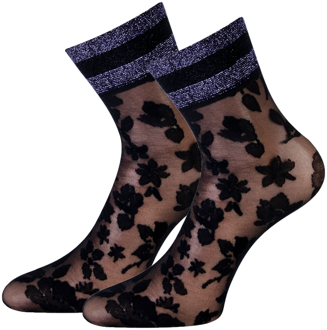 Schwarze MARCMARCS Socken PIZZO FLOWER  - large