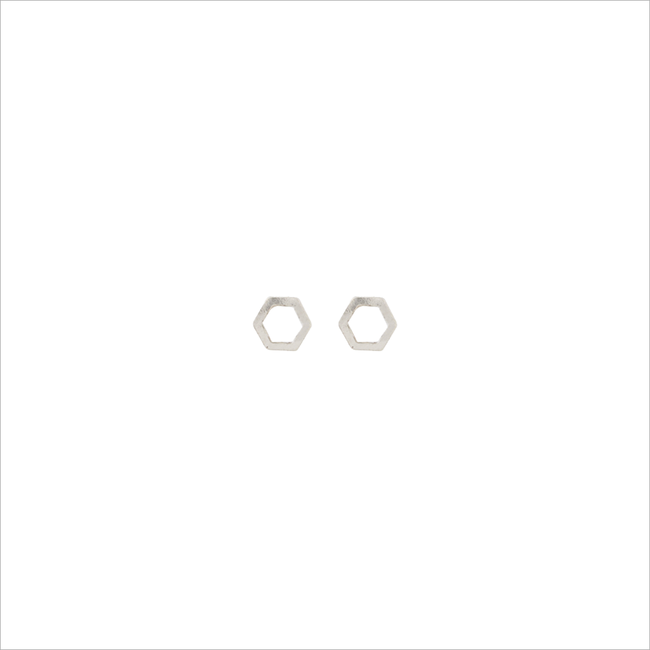 Silberne ALLTHELUCKINTHEWORLD Ohrringe PETITE EARRINGS HEXAGON - large