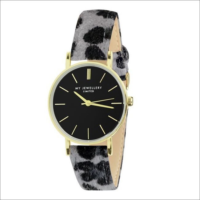 Graue MY JEWELLERY Uhr LEOPARD WATCH - large